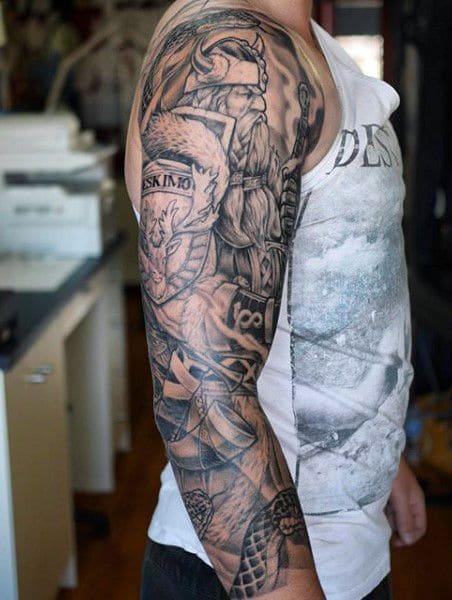 tatuajes blanco y negro vikingos