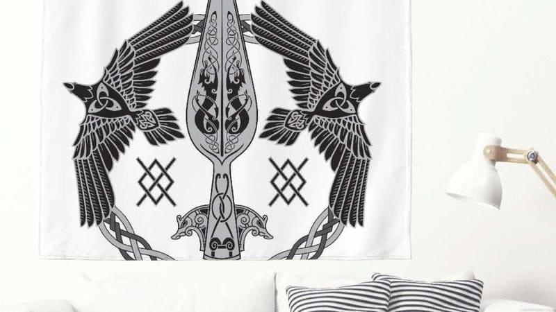 tapiz vikingo runa y simbolos celtas
